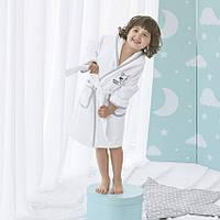 Детский халат махровый белый с капюшоном