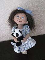 Интерьерная авторская текстильная кукла ручной работы Незабудка