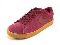 Кроссовки мужские  Nike замшевые бордовые  (р.41,42,43,44,45,46)