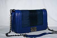 Клатч женский Шанель Бой, рептилия, большой, синий