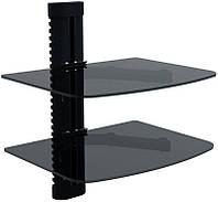 Полка стеклянная ДВОЙНАЯ для настенного крепления (max 10 кг.)