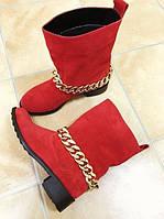 Женские кожаные весенние сапоги без каблука  красные