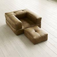 """Кресло кровать """"kub""""св. коричневое , раскладное кресло,кресло диван, кресло для дома, бескаркасное кресло."""