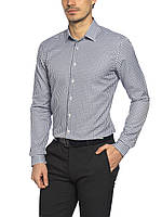 Мужская рубашка LC Waikiki белого цвета в мелкую синюю клетку 3XL