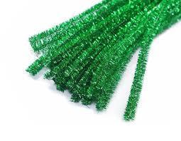 Синельная (пушистая) проволока, зеленая с мишурой - Интернет магазин товаров для праздника и  свадебных аксессуаров Аладдин в Виннице
