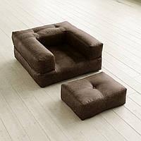 """Кресло кровать """"kub"""" элит коричневое, раскладное кресло,кресло диван, кресло для дома, бескаркасное кресло."""