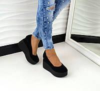 Модные туфли на платформе натуральная замша