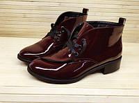 Стильные женские ботинки на низком ходу марсала лаковая кожа