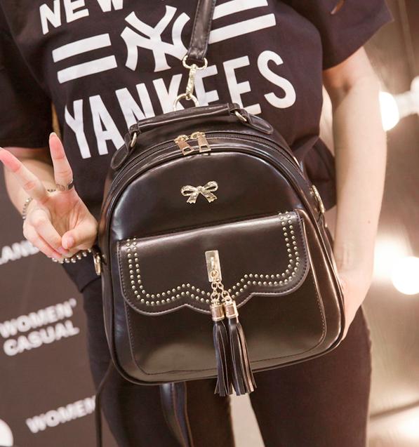 Рюкзак женский кожаный Brush c бантиком Черный