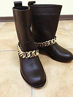Кожаные зимние женские сапоги без каблука с широким голенищем, зимняя женская обувь от производителя
