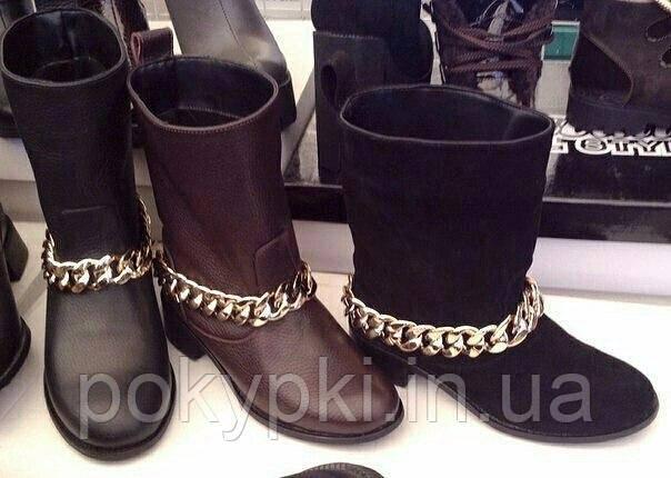 52a89996c Модные женские зимние сапоги кожаные цепи съемные , зимняя женская обувь от  производителя