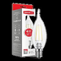 LED ЛАМПА MAXUS (FILAM), C37 TL, 4W, ТЕПЛЫЙ СВЕТ,E14 (1-LED-539)
