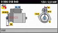 986020350 Bosch стартер двигателя (2,0 кВт, 12 В)
