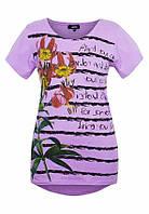Удлиненная женская футболка с цветами Сиреневый