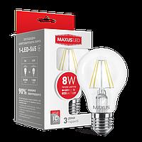 LED ЛАМПА MAXUS (FILAM), А60, 8W, ТЕПЛЫЙ СВЕТ,E27 (1-LED-565)