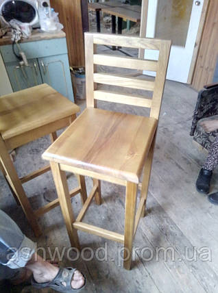 Стул барный деревянный ясень/Стілець барний дерев'яний, фото 2