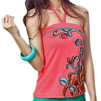 Майка женская розовая с вышивкой