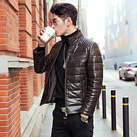 Мужская кожаная куртка с меховым воротником. Модель 6204