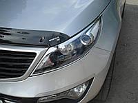 Хром накладки на фары Kia Sportage R 2010-2015 хромированный пластик