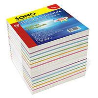 Бумажный блок для записи цветной, размер 9х9 см, 1000 листов не клееный