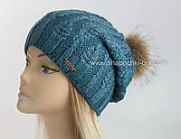 Вязаная шапка Букет с помпоном из меха енота