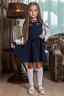 Детский красивый школьный сарафан с вышивкой 0006 / темно-синий