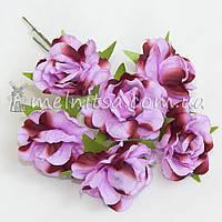 """Букет роз """"Аве Мария"""" 3,5 см, омбре сиреневый+коричневый"""