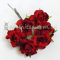 """Букет роз """"Аве Мария"""" 3,5 см, омбре красный+коричневый"""