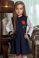 Детский красивый школьный сарафан 0005 / темно-синий