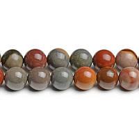 Хромовая Яшма, Натуральный камень, На нитях, бусины 8 мм, Шар, 48 шт/нить