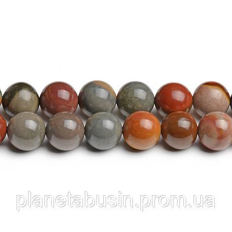 8 мм Хромовая Яшма, CN266, Натуральный камень, Форма: Шар, Отверстие: 1мм, кол-во: 47-48 шт/нить, фото 2
