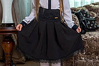 Детская красивая юбка с кружевом 0008 / черная