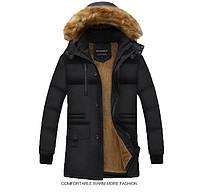 Мужское осенне-зимнее пальто с капюшоном. Модель 6205
