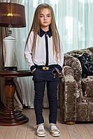 Детские стильные брюки для девочек 0009 / темно-синие