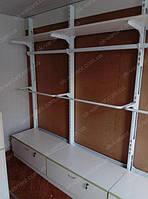 Оборудование для магазина одежды на основе настенного профиля металлическое с ящиками. Универсальное и практичное оборудование для магазина одежды. Мебель для магазина одежды