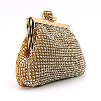 Клатч-кошелек золотистый женский вечерний со стразами из камней на цепочке