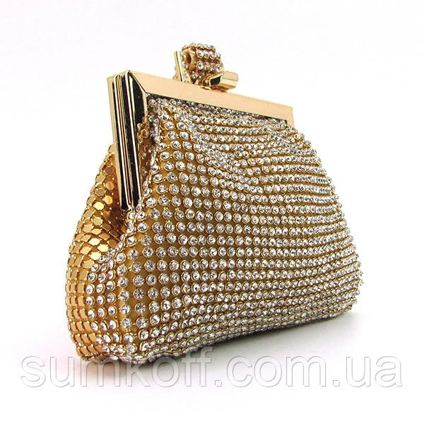 5417ac87dcd3 Клатч-кошелек золотистый женский вечерний со стразами из камней на цепочке  - Интернет магазин сумок
