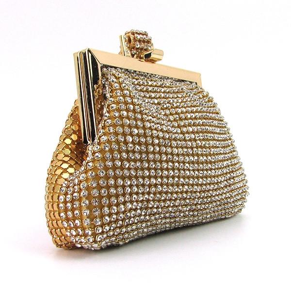 Женский золотистый вечерний клатч-кошелек Rose Heart 99126 со стразами из камней на цепочке