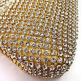 Женский золотистый вечерний клатч-кошелек Rose Heart 99126 со стразами из камней на цепочке, фото 4