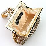 Женский золотистый вечерний клатч-кошелек Rose Heart 99126 со стразами из камней на цепочке, фото 6