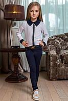Детские стильные брюки для девочек 0012 / темно-синие