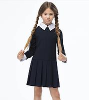 Школьное платье на складах темно-синего цвета белым с воротником