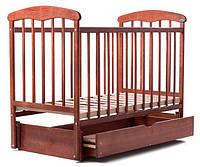 Кроватка детская Наталка  ясень тёмный с маятником и ящиком 60035