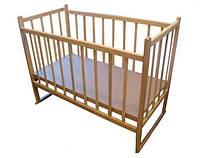 Кроватка детская КФ ольха  светлая  с опускающимся боком и качалкой 20016