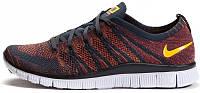 Мужские кроссовки Nike Free Flyknit NSW (найк фри ран флайнит) синие/оранжевые/бордовые