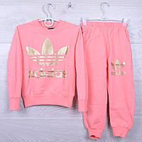 """Спортивный костюм детский """"Adidas"""" для девочек. 4-10 лет. Персиковый. Оптом"""