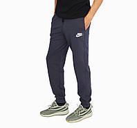 Темно-серые мужские спортивные трикотажные штаны с манжетами NIKE, фото 1