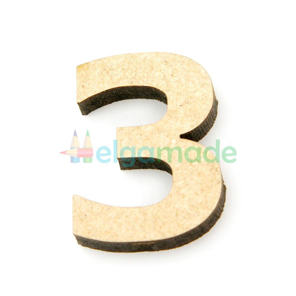 "Цифра из МДФ ""3"", 30х23 мм, 6 мм"