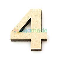 """Цифра из МДФ """"4"""", 30х25 мм, 6 мм, фото 1"""