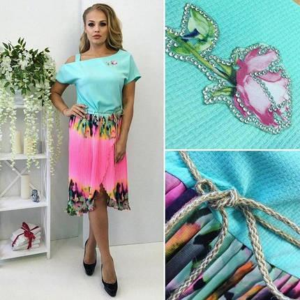 """Красивое женское платье """"Габардин + легкий шифон плиссе"""" 48, 50 размер баталы, фото 2"""